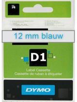 Lettertape Dymo D1 45011 Blauw-Tr. 12mmx7m