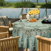 Binnen/buiten tafelkleed/tafellaken zeegroen 180 cm rond - Ronde kanten tafelkleden Amira - Tuintafelkleed tafeldecoratie