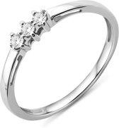 Majestine 9 karaat Ring Witgoudkleurig (375) met Diamant 0.05ct Maat 52