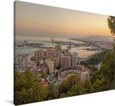 Uitzicht op de stad Málaga Canvas 180x120 cm - Foto print op Canvas schilderij (Wanddecoratie woonkamer / slaapkamer) / Europese steden Canvas Schilderijen XXL / Groot formaat!