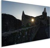 Zon door de gaten in de Tintern Abbey Plexiglas 90x60 cm - Foto print op Glas (Plexiglas wanddecoratie)