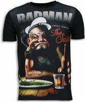 Popeye Badman - Digital Rhinestone T-shirt - Zwart