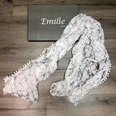 Sjaal dames - Cashmere - Shawl - omslagdoek - stola - pashmina - wit - bruiloft - trouwen
