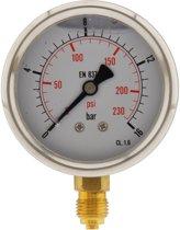 0..16 Bar Glycerine Manometer Verticaal RVS/Messing 63 mm Klasse 1.6 - ML01663SVG
