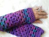 Polswarmers paars,lila, blauw met glinsterdraad