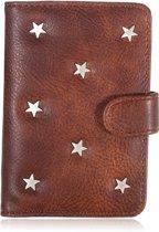CoshX® Paspoorthoesje met vakjes bruin met zilverkleurige sterren pu leer - paspoort etui - paspoorthoes