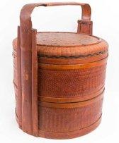 Fine Asianliving Traditionele Lunchmand Handgevlochten Riet Antiek