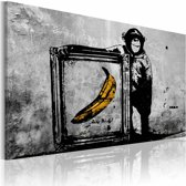 Schilderij - Inspired by Banksy III, Zwart-Wit/Geel, 1luik