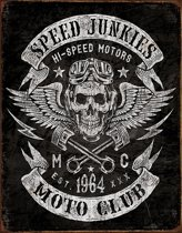 Signs-USA Speed Junkies - Skull - Motor club - retro wandbord - 40 x 30 cm