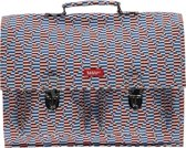 Bakker Made With love Schooltas Rugtas Groot Canvas Malevic Blauw Rood