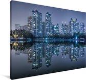 De skyline van Wuhan Canvas 30x20 cm - klein - Foto print op Canvas schilderij (Wanddecoratie woonkamer / slaapkamer) / Aziatische steden Canvas Schilderijen