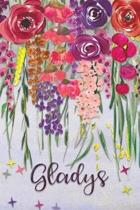 Gladys: Personalized Lined Journal - Colorful Floral Waterfall (Customized Name Gifts)