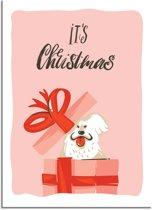 DesignClaud Kerstposter It's Christmas Hondje - Kerstdecoratie Kleurrijk A3 poster (29,7x42 cm)