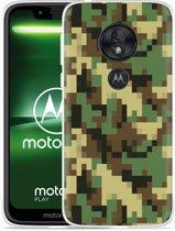 Moto G7 Play Hoesje Pixel Camouflage Green