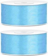 2x Satijn sierlint rollen lichtblauw 25 mm - Sierlinten - Cadeaulinten - Decoratielinten