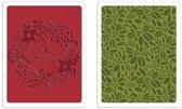 Sizzix Texture Fades Embossing Folder - Greetings & Greens Set 2Pak 660042 Tim Holtz