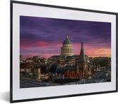 Foto in lijst - Zonsondergang over het Pantheon met een mooie paarse lucht fotolijst zwart met witte passe-partout klein 40x30 cm - Poster in lijst (Wanddecoratie woonkamer / slaapkamer)