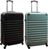 2 delige ABS kofferset 95 liter zwart en groen (228)