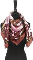 Vierkante roze dames sjaal luipaard zijdezacht satijn - 90 x 90 cm