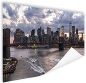 Manhattan en de Brooklyn bridge New York Poster 150x75 cm - Foto print op Poster (wanddecoratie woonkamer / slaapkamer) / Steden Poster