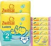 Zwitsal Luiers Maat 2 & Billendoekjes Sensitive - 84 luiers & 285 doekjes - Voordeelverpakking