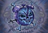 Fotobehang Alchemy Clock Skull Tattoo | PANORAMIC - 250cm x 104cm | 130g/m2 Vlies