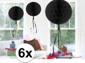 6x feestversiering decoratie bollen zwart 30 cm