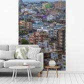 Fotobehang vinyl - Kleurrijke huizen in Dhaka breedte 270 cm x hoogte 400 cm - Foto print op behang (in 7 formaten beschikbaar)