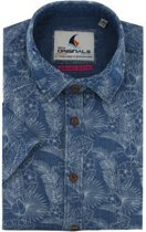 Gcm Originals regular fit overhemd korte mouw tropical denim bleached, maat XXL