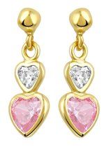Lucardi 14 Karaat Gouden Kinderoorbellen - Hart Roze Zirkonia