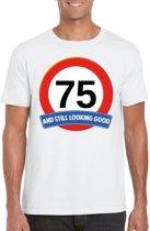 75 jaar and still looking good t-shirt wit - heren - verjaardag shirts XL