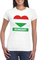 Hongarije hart vlag t-shirt wit dames M