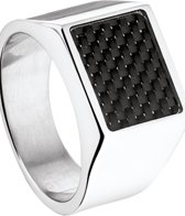 The Jewelry Collection - Stalen Zegelring met Carbon