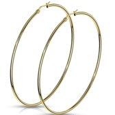 Oorbellen gold plated ringen 75mm ©LMPiercings