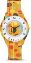 Colori Funtime 5 CLK041 Kinderhorloge met Stippen - Siliconen Band - Ø 34 mm - Geel