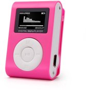 Mini clip MP3 speler  met display Roze en in-ear k