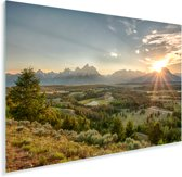 De felle zon achter het Tetongebergte in de Verenigde staten Plexiglas 90x60 cm - Foto print op Glas (Plexiglas wanddecoratie)