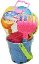 Strandspeelgoed - 6-delige set - schep, hark, emmer, zeef, vorm