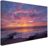 Zonsondergang zee Canvas 30x20 cm - klein - Foto print op Canvas schilderij (Wanddecoratie woonkamer / slaapkamer)