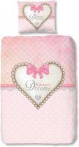 Good Morning Pink Heart - Dekbedovertrek - Eenpersoons - 140x200/220 cm + 1 kussensloop 60x70 cm - Roze