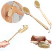 Houten Rugborstel - Doucheborstel / Badborstel / Scrubborstel - Massage Borstel Met Afneembare Steel