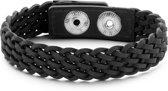 Frank 1967 7FB-0199 - Heren armband - geweven leer - lengte 23 cm - donker grijs