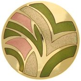 Behave® Broche rond design groen emaille 4 cm