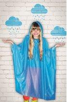 Blauwe regenponcho voor kinderen
