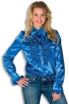 Rouche overhemd blauw voor dames 42 (XL)