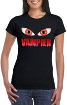 Halloween vampier ogen t-shirt zwart dames - Halloween kostuum S