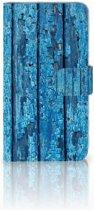 Motorola Moto E4 Plus Uniek Boekhoesje Wood Blue