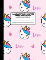 Handwriting Practice Paper Notebook Primary Composition Notebook: Blank Writing Sheets Journal Workbook with Dotted Lines for Kids: Preschool, Kinderg