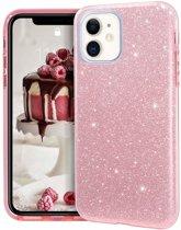 Apple iPhone 11 Glitter TPU Back Hoesje - Roze - van Bixb