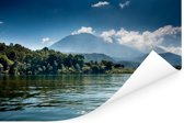 Uitzicht op de vulkanen vanaf het Meer van Atitlán in Guatemala Poster 180x120 cm - Foto print op Poster (wanddecoratie woonkamer / slaapkamer) XXL / Groot formaat!